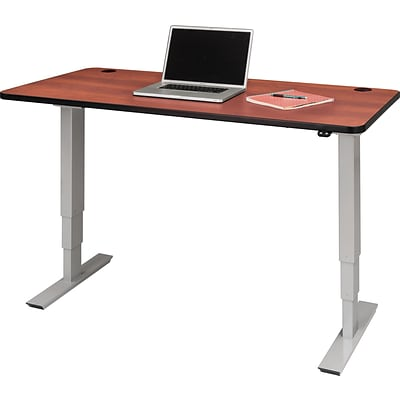 60 x 30 Electric Height-Adjustable Table, Cherry Top, Gray Base