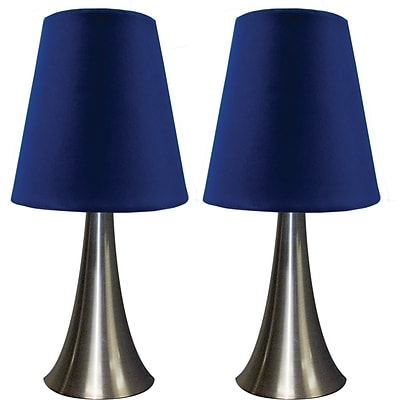 Simple Designs Two Pack Mini Touch Table Lamp Set With Blue Shade