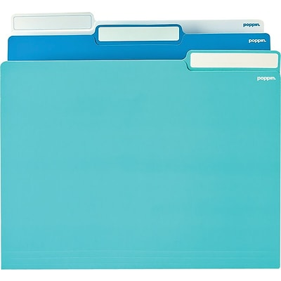 Poppin White/Pool Blue/Aqua Letter File Folders, 24/Pack