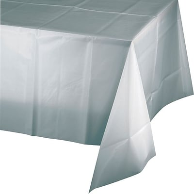 Creative Converting Shimmering Silver Rectangular Tablecover