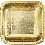 Creative Converting Glitz Gold 9 Square Dinner Plates, 8/Pack