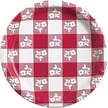 Creative Converting Red Gingham 9 Round Dinner Plates, 8/Pack