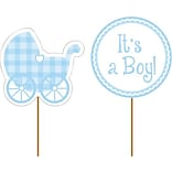 Creative Converting 4W x 11.5H Baby Boy Cupcake Picks, Pack of 12 (093228)