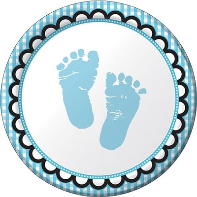 Creative Converting Sweet Baby Feet Blue 7 Round Luncheon Plates, 8/Pack