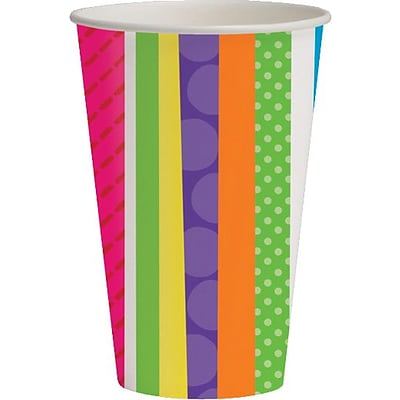 Creative Converting Bright and Bold Happy Birthday 9 oz. Hot/Cold Drink Cups, 8/Pack