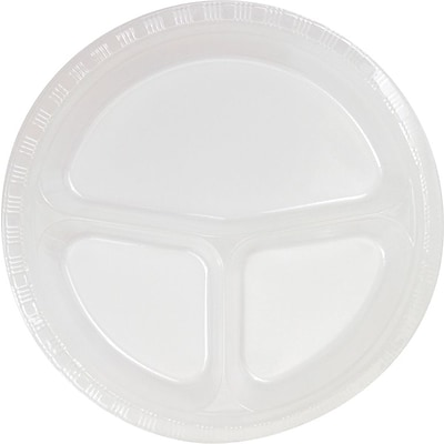 Creative Converting Divided Clear 10 Round Banquet Plates, 20/Pack