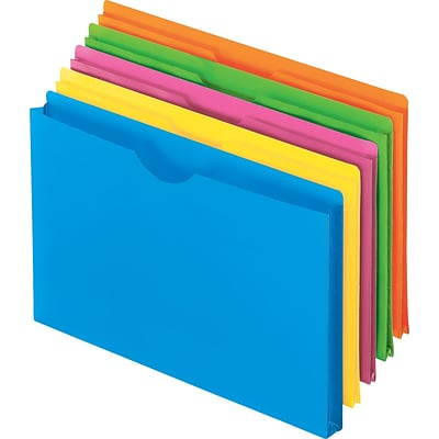 Pendaflex® Essentials Glow Poly File Jackets, Letter Size, Assorted Colors, 5/Pack (50992)