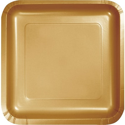 Creative Converting Glittering Gold 9 Square Dinner Plates, 18/Pack