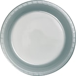 Creative Converting Shimmering Silver 10 Round Banquet Plates, 20/Pack