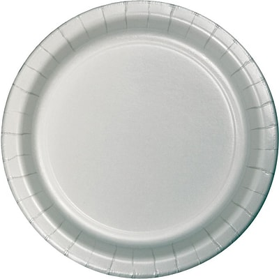 Creative Converting Shimmering Silver 7 Round Luncheon Plates, 24/Pack