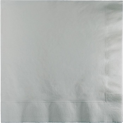 Creative Converting Shimmering Silver 2-Ply Luncheon Napkins, 50/Pack