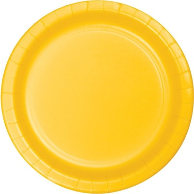Creative Converting School Bus Yellow 10 Round Banquet Plates, 24/Pack