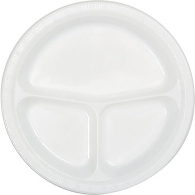 Creative Converting Divided White 10 Round Banquet Plates, 20/Pack