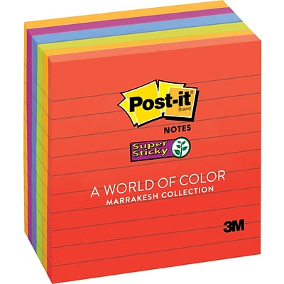Post-it® Super Sticky Notes, 4 x 4, Marrakesh Collection, Lined, 6 Pads/Pack (675-6SSAN)