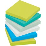 Post-it® Recycled Super Sticky Notes, 3 x 3, Bora Bora Collection, 12 Pads/Pack