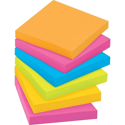 Post-it® Super Sticky Notes, 3 x 3, Rio De Janeiro Collection, 12 Pads/Pack (65412SSUC)