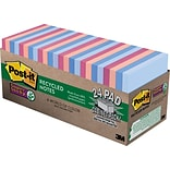 Post-it® Super Sticky Notes, 3 x 3, Bali Collection, Recycled, 24 Pads/Pack (65424NHCP)