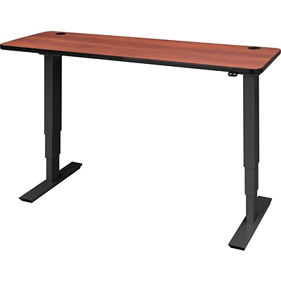 60 x 24 Electric Height-Adjustable Table, Cherry Top, Black Base