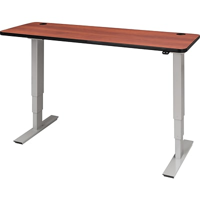 60 X 24 Electric Height Adjustable Table, Cherry Top, Gray Base