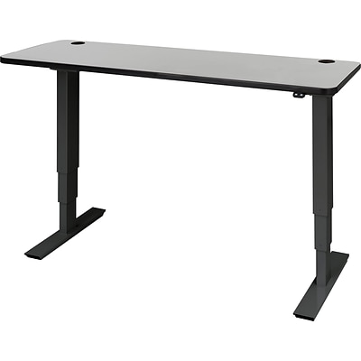 60 x 24 Electric Height-Adjustable Table, Gray Top, Black Base