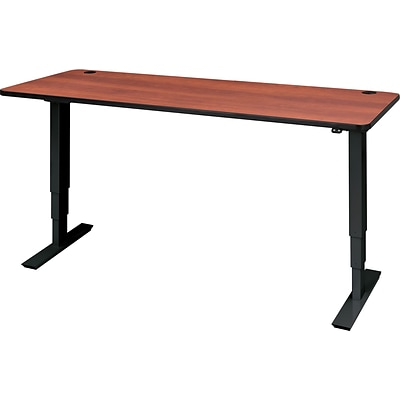 72 x 30 Electric Height-Adjustable Table, Cherry Top, Black Base