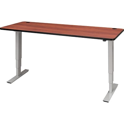 72 X 30 Electric Height Adjustable Table, Cherry Top, Gray Base