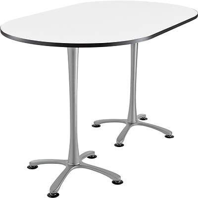 Cha Cha Standing Table 84 x 36 Designer White Top Silver Base