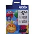 Brother® LC203 (LC2033PKS) Color Tri-Color Cartridges, High Yield, Multi-pack (3 cart per pack)