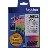 Brother® LC205 (LC2053PKS) Tri-Color Super High-Yield Ink Cartridge, Multi-pack (3 cart per pack)