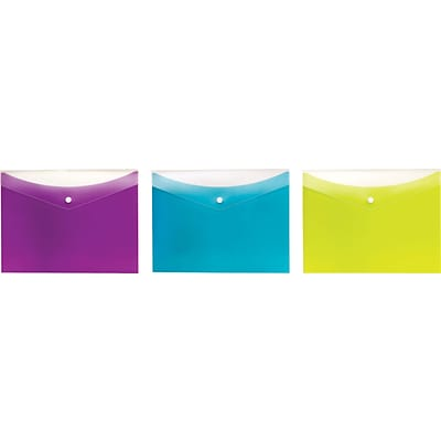 Pendaflex® Dual-Pocket Snap Envelopes, Letter Size, Assorted Colors, 3/Pack (95569)