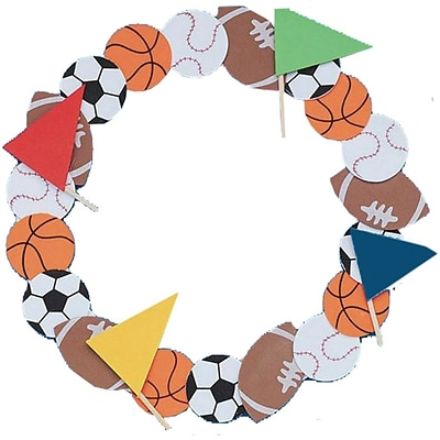Craft Express Sports Wreath Craft Kit, 12/Pack