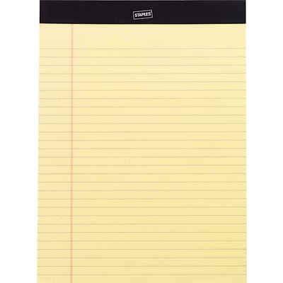 Staples® Perforated Writing Pads, Wide Ruled, Canary, 8 1/2 x 11 3/4, 50 Sheets/Pad, 12 Packs/Case