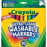 Crayola Ultra-Clean Washable Broad Line Markers, 10/Ct