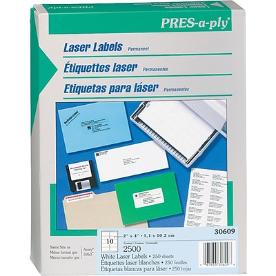 Avery PRES-a-ply 1 x 2.62 Laser Address Labels, White, 250/Pack (AVE30609)