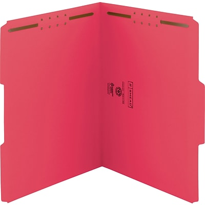 Smead WaterShed/CutLess Fastener Folders, Letter, 2 x 2K Fastener, 1/3 Tab Cut, Assorted Position Tab, 11 pt., Red, 50/Bx