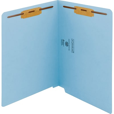 Smead WaterShed/CutLess End Tab Fastener Folders, Letter, 8.5 x 11 Sheet, 2 x 2B Fastener, End Tab, 11 pt., Blue, 50/Box