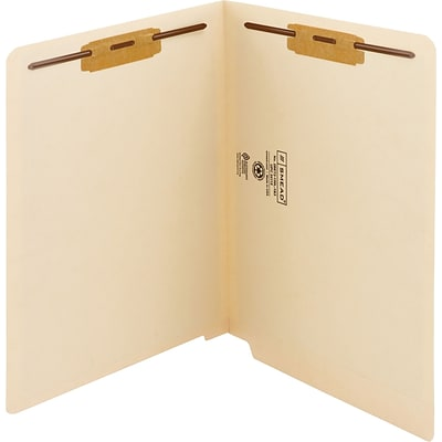 Smead Shelf-Master® Recycled End Tab Classification Folder, 3/4 Expansion, Letter Size, Manila, 50/Box (34130)