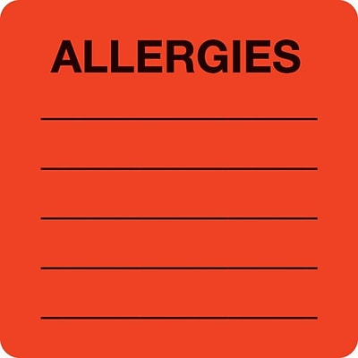 Allergy Warning Medical Labels, Allergies, Fluorescent Red, 2x2, 500 Labels