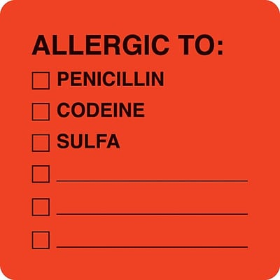 Medical Arts Press® Allergy Warning Medical Labels, Allergic To:, Fluorescent Red, 2x2, 500 Labels