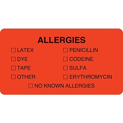 Allergy Warning Medical Labels, Allergies, Fluorescent Red, 1-3/4x3-1/4, 500 Labels