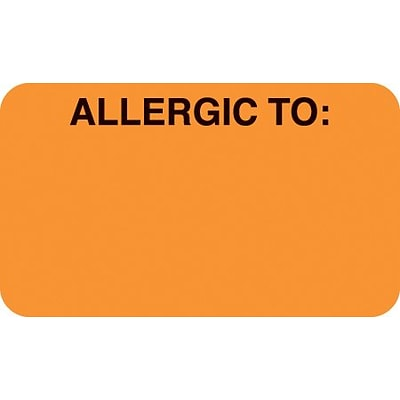 Allergy Warning Medical Labels, Allergic To:, Fluorescent Orange, 7/8x1-1/2, 500 Labels