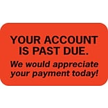 Past Due Collection Labels, Your Account Is Past Due, Fluorescent Red, 7/8x1-1/2, 500 Labels