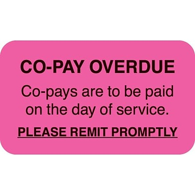 Medical Arts Press® Past Due Collection Labels, Co-Pay Overdue, Fluorescent Pink, 7/8x1-1/2, 500 Labels