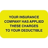 Patient Insurance Labels, Applied to Deductible, Fl Chartreuse, 7/8x1-1/2, 500 Labels