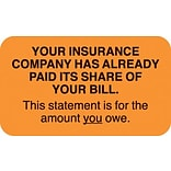Patient Insurance Labels, Your Insurance Co. Paid, You Owe, Fl Orange, 7/8x1-1/2, 500 Labels