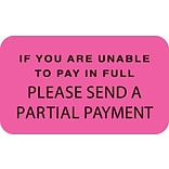 Reminder & Thank You Collection Labels, If Unable To Pay, Fl Pink, 7/8x1-1/2, 500 Labels