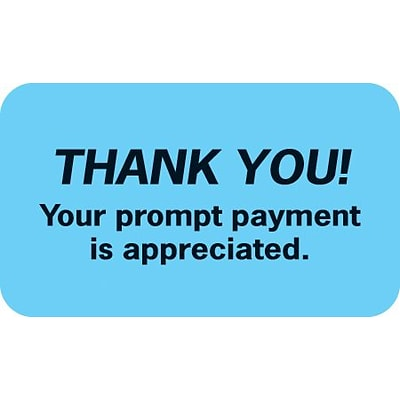 Medical Arts Press® Reminder & Thank You Collection Labels, Thank You!, Light Blue, 7/8x1-1/2, 500 Labels