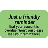 Reminder & Thank You Collection Labels, Friendly Reminder, Fl Green, 7/8x1-1/2, 500 Labels