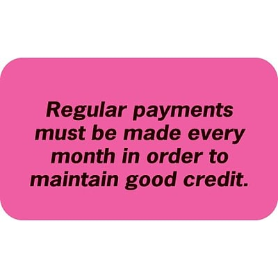 Medical Arts Press® Reminder & Thank You Collection Labels, Regular Payments, Fl Pink, 7/8x1-1/2, 500 Labels