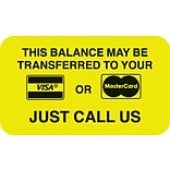 Reminder & Thank You Collection Labels, Visa/MC Payment, Fl Chartreuse, 7/8x1-1/2, 500 Labels